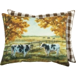 Dairy Cows & Trees In Autumn Decorative Cotton Throw Pillow 15x12 from Primitives by Kathy