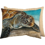 Sea Turtle Design Decorative Cotton Throw Pillow 20x15 from Primitives by Kathy