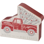 Red Christmas Tree Truck Home For The Holidays Decorative Wooden Sign 4 Inch from Primitives by Kathy