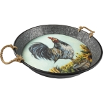 Rooster & Sunflower Design Decorative Galvanized Metal Tray from Primitives by Kathy