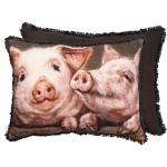 Farmhouse Two Pigs In A Pen Decorative Cotton Throw Pillow 20x15 from Primitives by Kathy