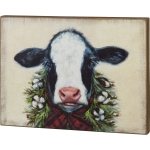 Farm Cow With Evergreen & Buffalo Check Bow Decorative Wall Décor Sign 25 Inch x 18.5 Inch from Primitives by Kathy