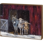 Snowy Day Farm Animals Family In Barn Decorative Wooden Wall Décor Sign 14x11 from Primitives by Kathy