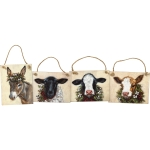 Set of 4 Wooden Christmas Farm Animals Hanging Ornaments 4.5 Inch from Primitives by Kathy