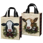 Double Sided Holdiay Wreath Calf & Cow Daily Tote Bag from Primitives by Kathy