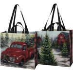 Double Sided Red Christmas Tree Truck Tree Farm Market Tote Bag from Primitives by Kathy