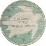 Sea Turtle Design The Beach Is My Happy Place Large Decorative Bamboo Plate 11 Inch from Primitives by Kathy