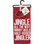 Jingle All The Way Dish Towel & Bell Shaped Cookie Cutter Set from Primitives by Kathy