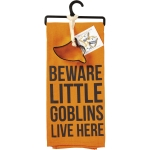 Beware Little Goblins Live Here Dish Towel & Ghost Cookie Cutter Set from Primitives by Kathy