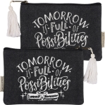 Tomorrow Is Full Of Possibilities Zipper Pouch Canvas Handbag from Primitives by Kathy