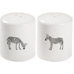Black & White Zebra Print Design Decorativ Stoneware Salt & Pepper Shaker Set from Primitives by Kathy
