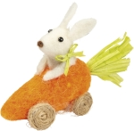 Felt Bunny Riding In A  Carrot Car Figurine 4.5  Inch from Primitives by Kathy