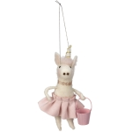 Felt Unicorn In Pink Dress With Pail Hanging Ornament Figurine 5.75 Inch from Primitives by Kathy