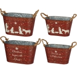 Set of 2 Galvainzed Christmas Buckets (For Unto Us A Child Is Born & Nativity Scene) from Primitives by Kathy
