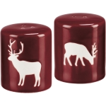 Red & White Christmas Deer Design Stoneware Salt & Pepper Shaker Set from Primitives by Kathy