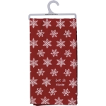 Red & White Snowflake Pattern Let It Snow Cotton Dish Towel 20x26 from Primitives by Kathy
