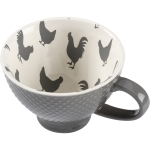 Gray Chicken Print Design Stoneware Coffee Mug 13 Oz from Primitives by Kathy