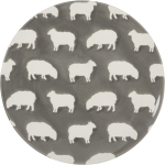 Gray White Sheep Design Decorative Stoneware Plate 8.5 Inch Diameter from Primitives by Kathy