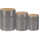 Set of 3 Gray Glaze Design Stoneware Canisters Set from Primitives by Kathy