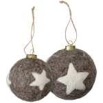 Set of 2 Star Design Felt Hanging Christmas Ornaments 3.5 Inch from Primitives by Kathy