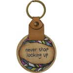Colorful Feather Wreath Design Never Stop Looking Up Wooden Keychain from Primitives by Kathy