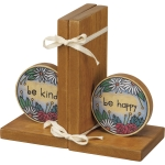 Floral Design Be Kind Be Happy Wooden Bookends Set from Primitives by Kathy