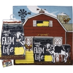 Colorful Living The Farm Life Cotton Dish Towel 28x28 from Primitives by Kathy