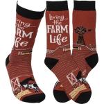 Living The Farm Life Colorfully Printed Cotton Socks from Primitives by Kathy