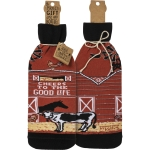 Farm House Themed Cheers To The Good Life Wine Bottle Sock Holder from Primitives by Kathy