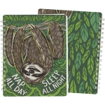 Sloth Design Nap All Day Sleep All Night Spiral Notebook (120 Pages) from Primitives by Kathy