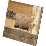 Engraved Rustic Shells Design Decorative Wooden Photo Picture Frame (Holds 3.5 Inch Photo) from Primitives by Kathy