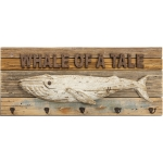 Rusting Whale Of A Tale Wooden Coat or Hat Rack Hook Board 39.5 Inch from Primitives by Kathy