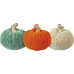 Set of 3 Small Velvet Decorative Pumpkin Figurines (Cream Orange Green) from Primitives by Kathy