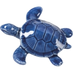 Small Blue Stoneware Sea Turtle Figurine 4 Inch x 1.25 Inch from Primitives by Kathy