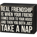 Real Friendship Is When You Both Take A Nap Decorative Wooden Box Sign 5x4 from Primitives by Kathy