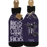 Witch & Cat Hocus Pocus I Need Wine To Focus Wine Bottle Sock Holder from Primitives by Kathy
