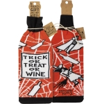 Witch & Spiderweb Design Trick Or Treat Or Wine Bottle Sock Holder from Primitives by Kathy