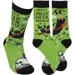 Happy Halloween Witches Colorfully Printed Cotton Socks from Primitives by Kathy