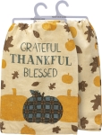 All Over Pumpkin & Leaf Design Grateful Thankful Blessed Cotton Dish Towel 28x28 from Primitives by Kathy