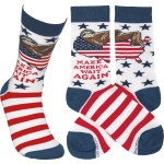 Sloth Design Make America Wait Again Colorfully Printed Cotton Socks from Primitives by Kathy