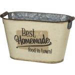 Retro Themed Best Homemade Food In Town Galvanized Metal Bin 12.25 Inch from Primitives by Kathy
