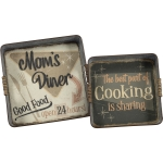 Set of 2 Mom's Cooking Galvanized Metal Trays from Primitives by Kathy