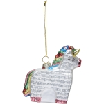 Unicorn Pinata Hanging Glass Ornament 3.75 Inch from Primitives by Kathy