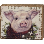 Farm Pig With Buffalo Check Wreath & Bow Decorative Wooden Block Sign 5x4 from Primitives by Kathy