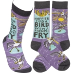 Happier Than A Bird Witth A French Fry Colorfully Printed Cotton Socks from Primitives by Kathy