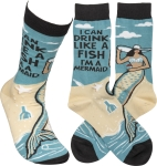 I Can Drink Like A Fish I'm A Mermaid Colorfully Printed Cotton Socks from Primitives by Kathy
