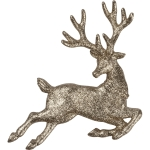 Champagne Glitter Running Deer Hanging Christmas Ornament 7.25 Inch from Primitives by Kathy