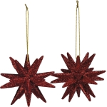 Set of 2 Holiday Red Glitter Star Hanging Christmas Ornaments 2.75 Inch from Primitives by Kathy