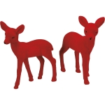 Set of 2 Red Flocked Standing Deer Figurines 5x6 from Primitives by Kathy