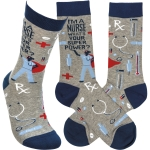 I'm A Nurse What's Your Super Power Colorfully Printed Cotton Socks from Primitives by Kathy